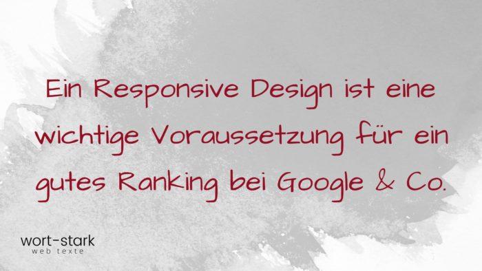 Ein Responsive Design ist eine wichtige Voraussetzung für ein gutes Ranking bei Google