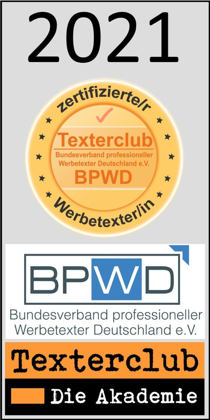 Zertifikat – Zertifizierte*r Werbetexter*in BPWD/TC