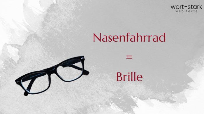 Verrückte Wörter Nasenfahrrad Brille